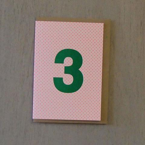 Riso Number Cards - Green/Orange 3