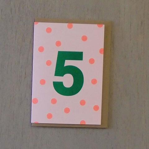 Riso Number Cards - Green/Orange 5
