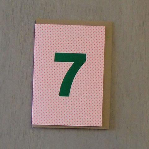 Riso Number Cards - Green/Orange 7