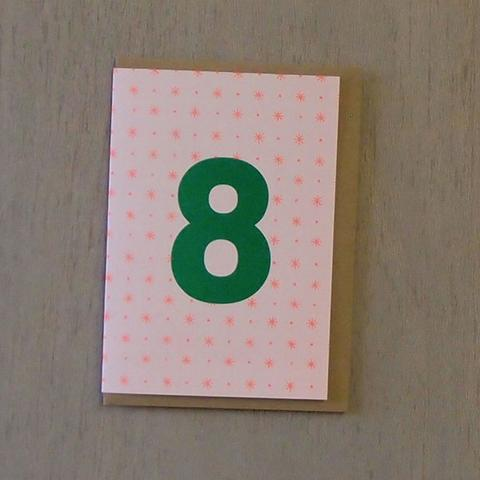 Riso Number Cards - Green/Orange 8