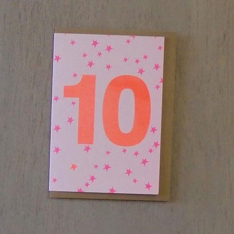 Riso Number Cards - Pink/Orange 10