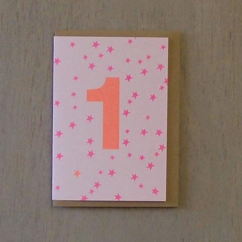 Riso Number Cards - Pink/Orange 1