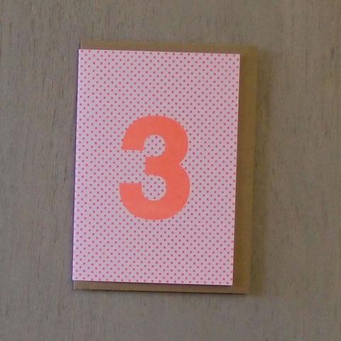 Riso Number Cards - Pink/Orange 3