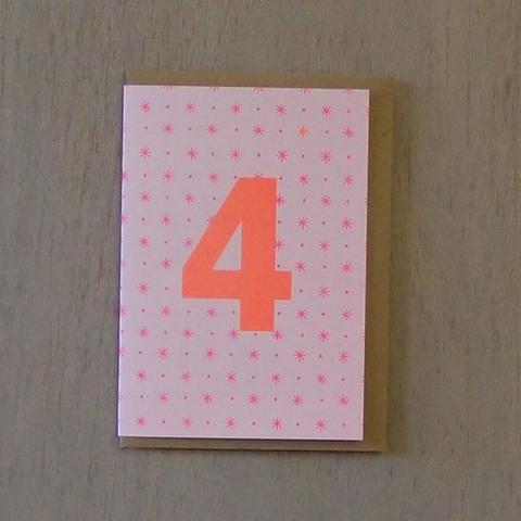 Riso Number Cards - Pink/Orange 4