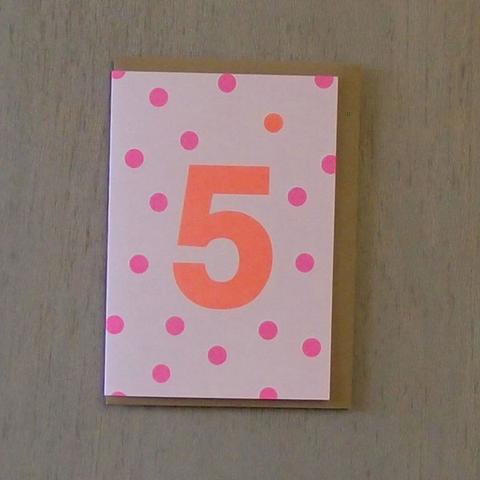 Riso Number Cards - Pink/Orange 5