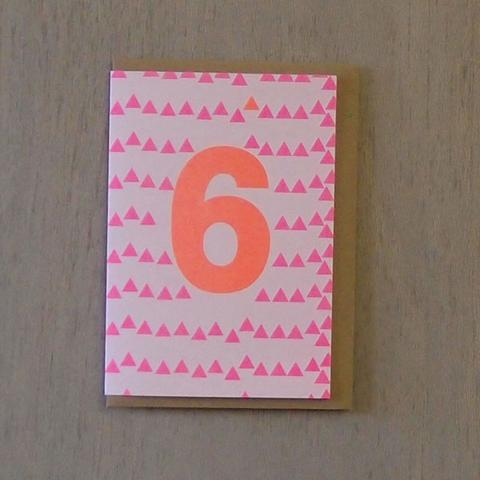 Riso Number Cards - Pink/Orange 6