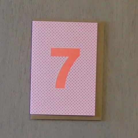 Riso Number Cards - Pink/Orange 7