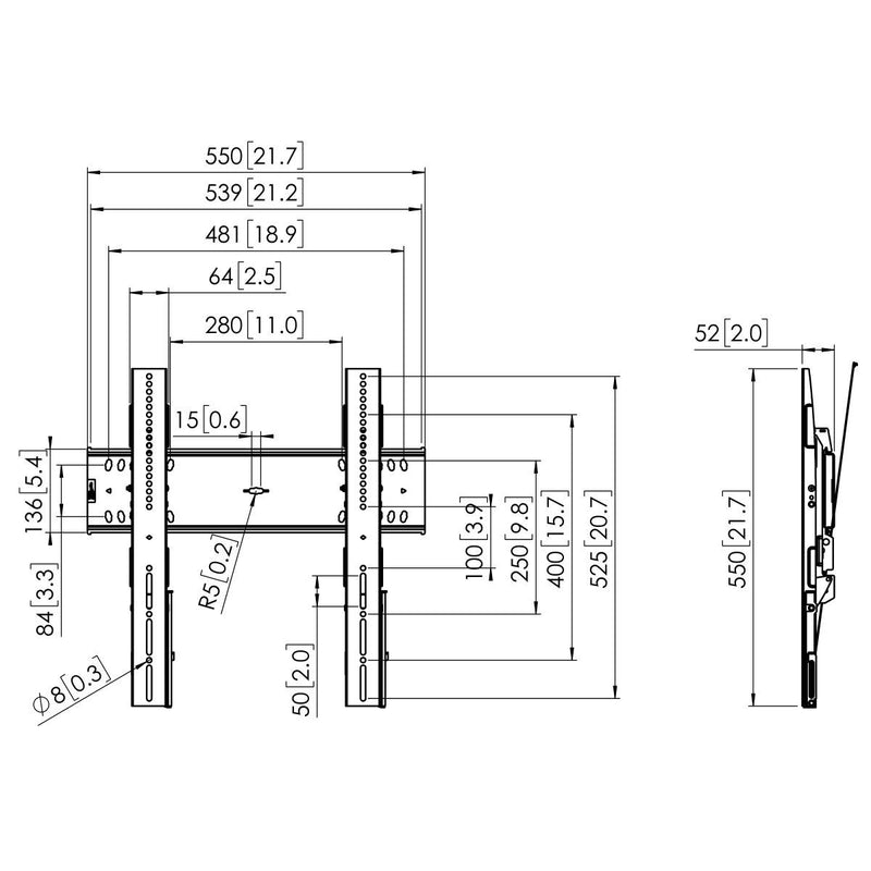Vogel's PFW 6410 Display Tilt Wall Mount - Technical Drawing