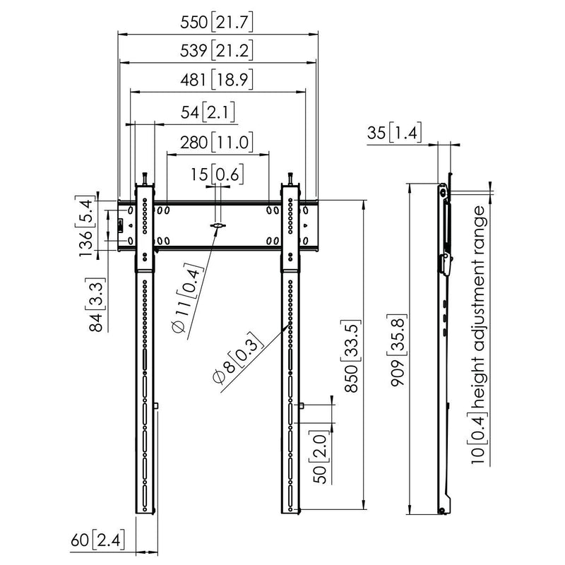 Vogel's - PFW 6815 Display Tilt Wall Mount Portrait - Technical Drawing