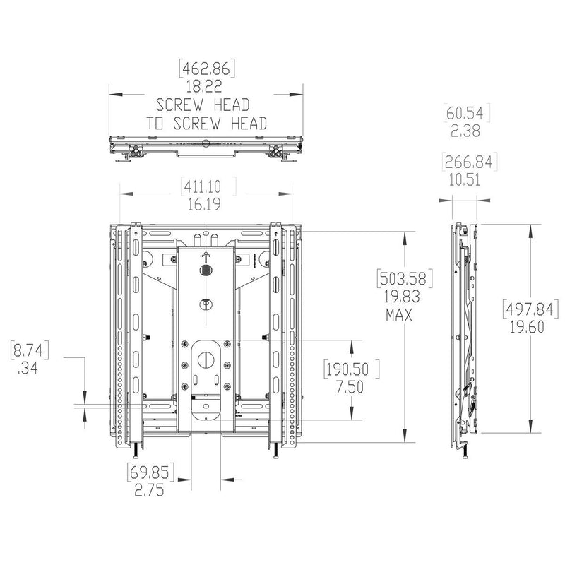 Vogel's - PFW 6885 Video Wall Pop-Out Mount Portrait - Technical Drawing
