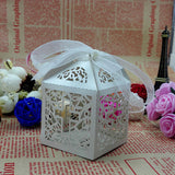 Cross Design Wedding Favor Boxes With Ribbons - 50Pcs