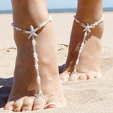 White Starfish Pearl Anklets Beads Chain for Bridal - Weddingkings.com