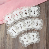 Hollow Flower Cut Table Number Cards - 10Pcs