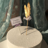 Feather Cupcake Toppers With Pearl Bow knot