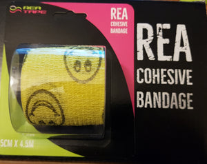 This is an image of REA TAPE Cohesive Bandage. Various Patterns and Colours Yellow Emoji For Joint Support UK Seller ACG Massage
