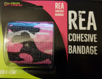 This is an image of REA TAPE Cohesive Bandage. Various Patterns and Colours Camouflage Pink For Joint Support UK Seller ACG Massage
