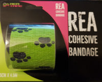 This is an image of REA TAPE Cohesive Bandage. Various Patterns and Colours Green Paw for dogs For Joint Support UK Seller ACG Massage