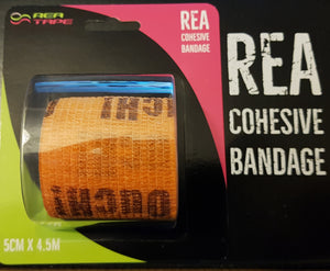 This is an image of REA TAPE Cohesive Bandage. Various Patterns and Colours Orange Ouch! For Joint Support UK Seller ACG Massage