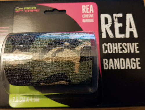 REA TAPE Cohesive Bandage. Camouflage Geen, Blue & Beige 7.5 cm x 4.5 mtr