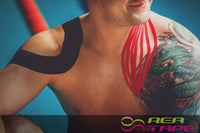 This is an image of a swimmer wearing REA TAPE Premium Black 5cm x 5mtr Kinesiology Tape Extra Strong! UK Stockist.