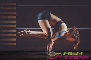 This is an image of a female athlete lifter wearing REA Tape Kinesiology Tape Classic Blue K Tape 5cm x 5mtr UK Supplier