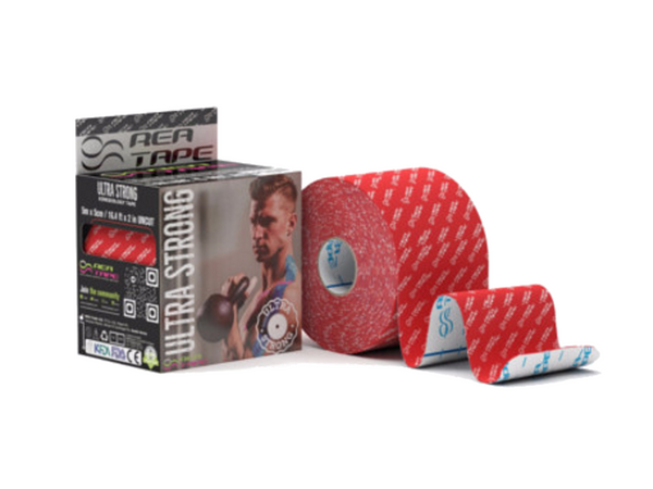This is an image of REA TAPE Ultra Strong Red Logo Kinesiology Tape 5 cm x 5 mtr by ACG Massage UK Stockist