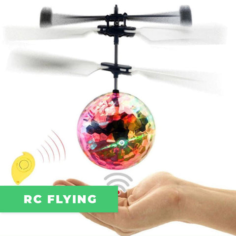 Remote controlled flying ball with collors