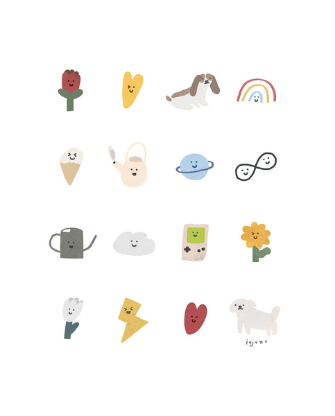 Cute Happy Things Illustration Print