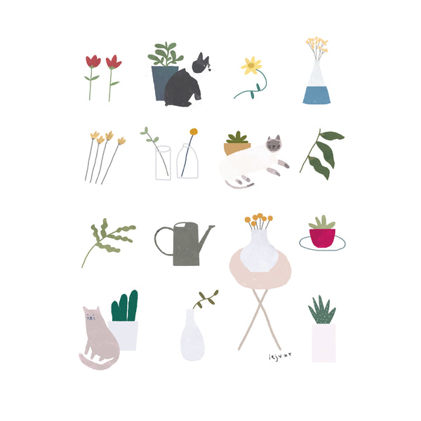 Pets & Plants Illustration Print