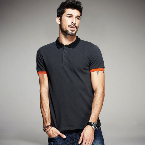 Patchwork Dark Grey Slim Fit Polo Shirt