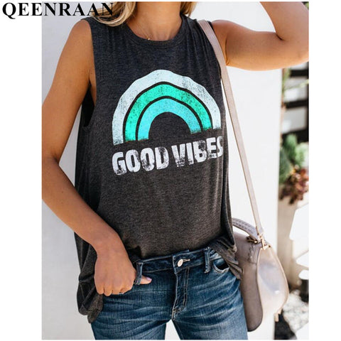 Summer Rainbow Stripe and Letter GOOD VIBES Tank Tops