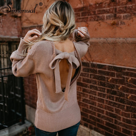 Backless Bow Tie Knitwear Pullovers