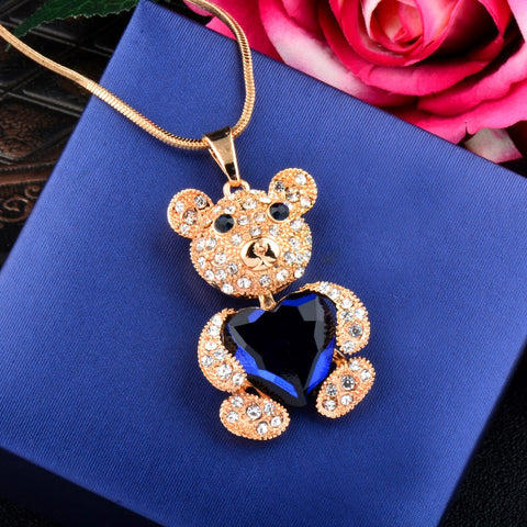 Lovely Heart Crystal Little Bear Necklace - Star Wars Time