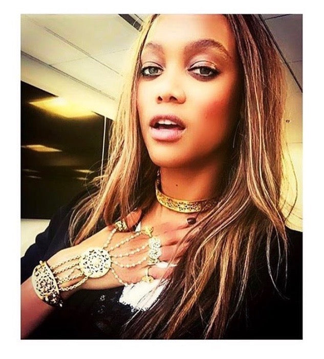 Tyra Banks in Astha Jagwani's Choker and hand harness
