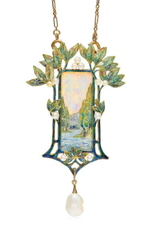 Art Nouveau opal, enamel, and pearl pendant necklace by Georges Fouquet