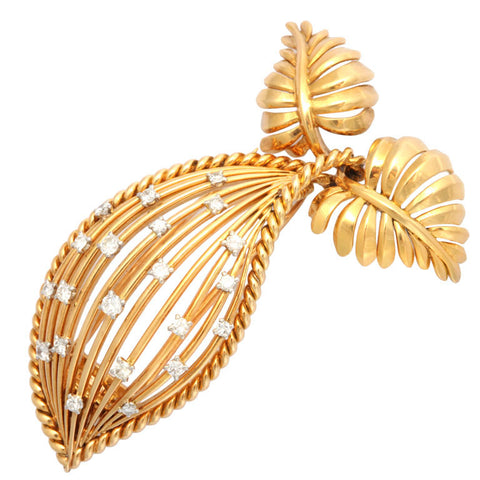 Cartier gold wire and diamond brooch