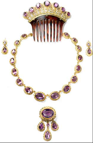 Neo-Renaissance Cartier Parure with necklace, hair comb, earrings, and brooch