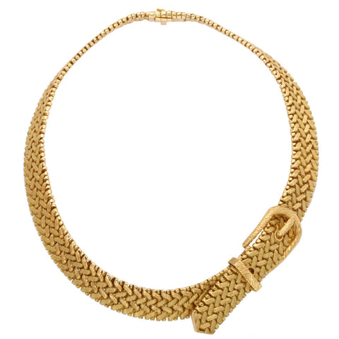 Hermes Woven Gold Buckle Necklace