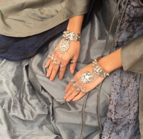 Diwan Hand Harness in Silver by Astha Jagwani