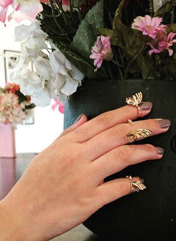 Gold Flutter Midi Rings by Outhouse Jewellery