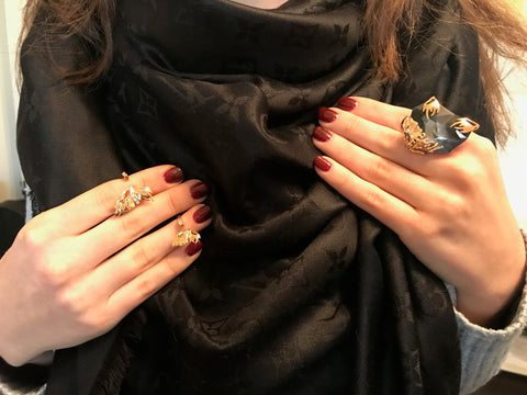 Gold Flutter Midi Rings (large and small) and Silver Night Ring by Outhouse Jewellery