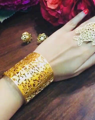 Jewellery by Astha Jagwani featuring mashrabiya and jali lattice patterns