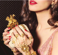Diwan Hand Harness in Gold by Jewellery by Astha Jagwani