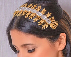 Crystal Olive Leaf Jeweled Headband by Jewellery by Astha Jagwani