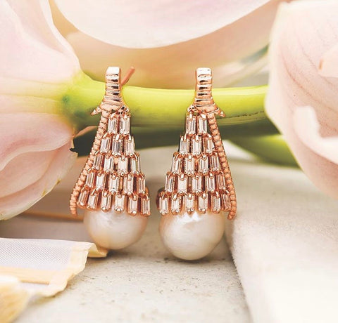 Pearl Gush Gold Drop Earrings