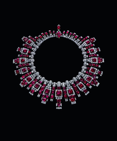 Rubies and diamonds necklace at display