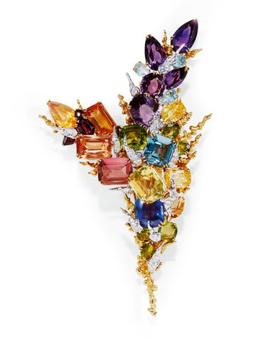 Pierre Sterle Sapphire and Gem Set Brooch, c. 1960s