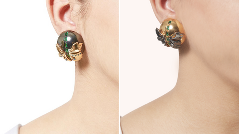 Papilio Studs in Gunmetal and Gold