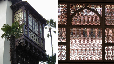 Left: Egyptian style Mashrabiya at Hearst Castle, CA; Right: Jali at Tomb of Salim Chishti, Fatehpur Sikri