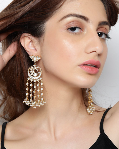 White Lotus & Peacock Chandbaali Earrings